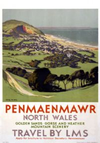 Penmaenmawr, Dwygyfylchi, Conwy, Wales. LMS Vintage Travel Poster by Chas Pears